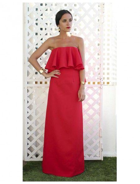 Vestido Palabra De Honor Volante Rojo Moda Vestidos Vestidos
