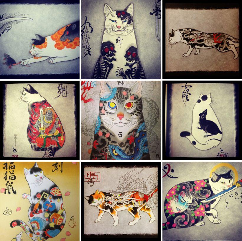 los gatos tatuados de horitomo tattoo cat tattoo and tattoo art. Black Bedroom Furniture Sets. Home Design Ideas