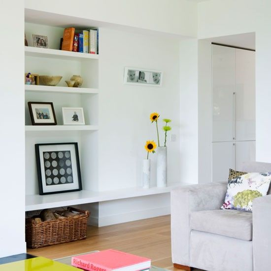 Shelving Space Within Alcove In White Living Room