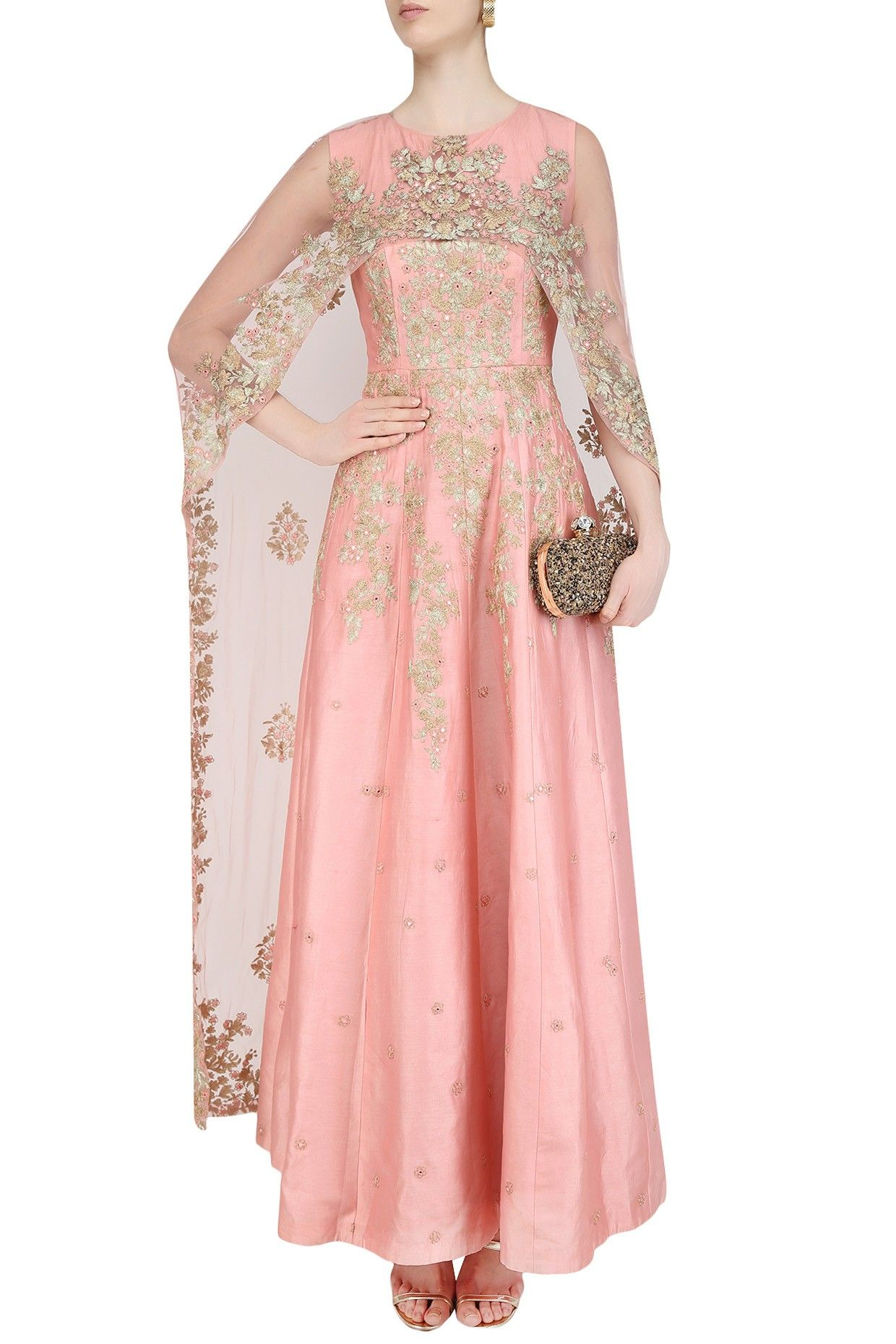 ANEESH AGARWAAL Flamingo Pink Floral Embroidered Cape Anarkali Set ...