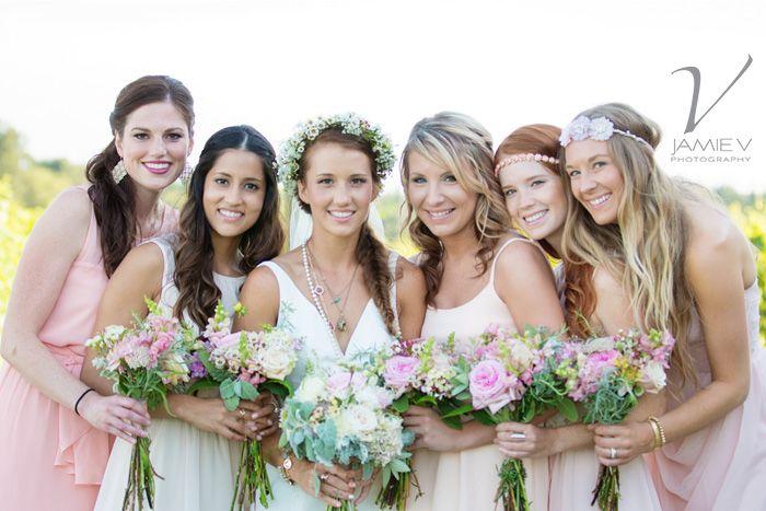 Bride and Bridesmaids, Bohemian-style, Samson Estates Winery Wedding Photography, Jamie V Photography