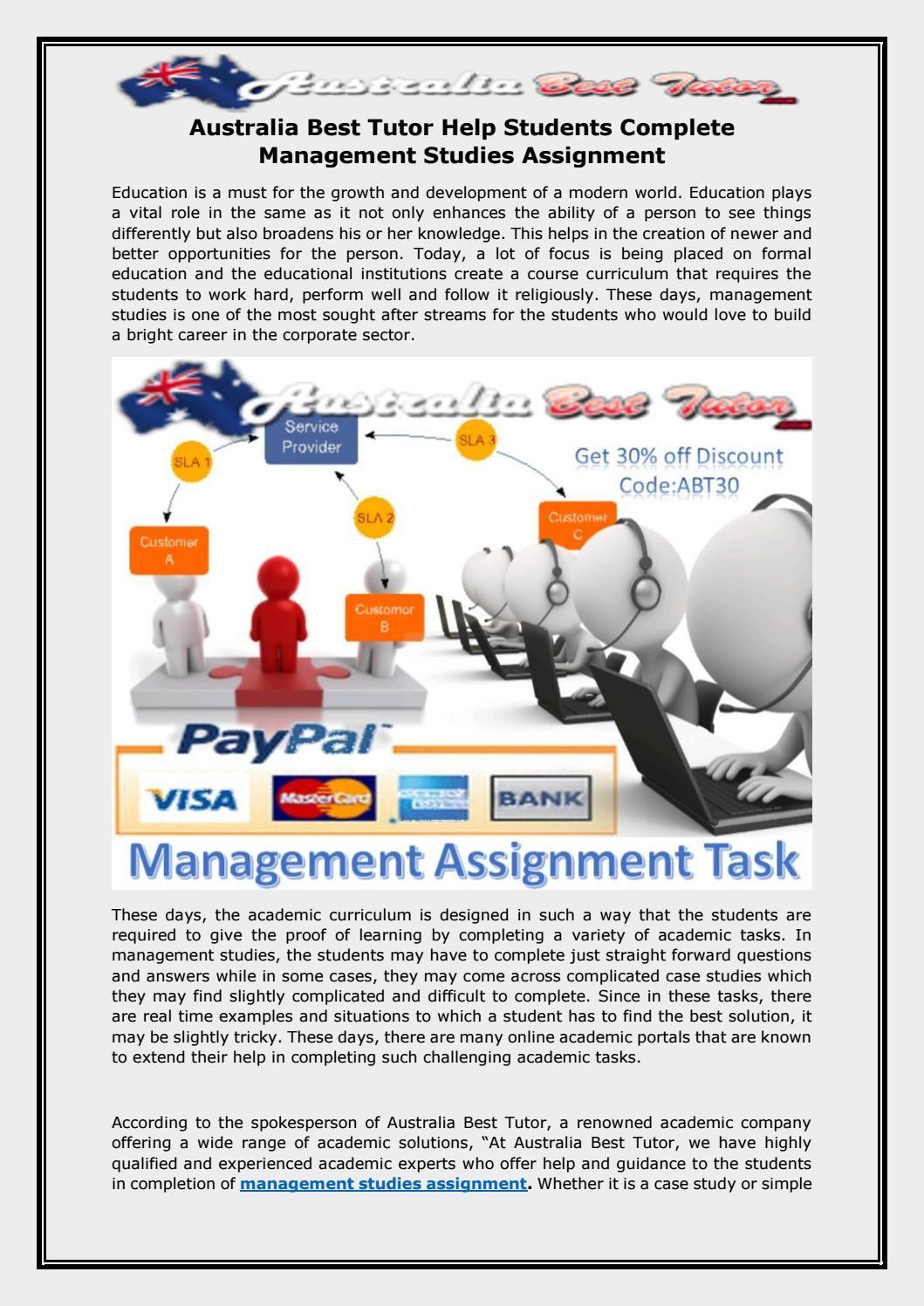 Australia Best Tutor Help Students Complete Management Studies