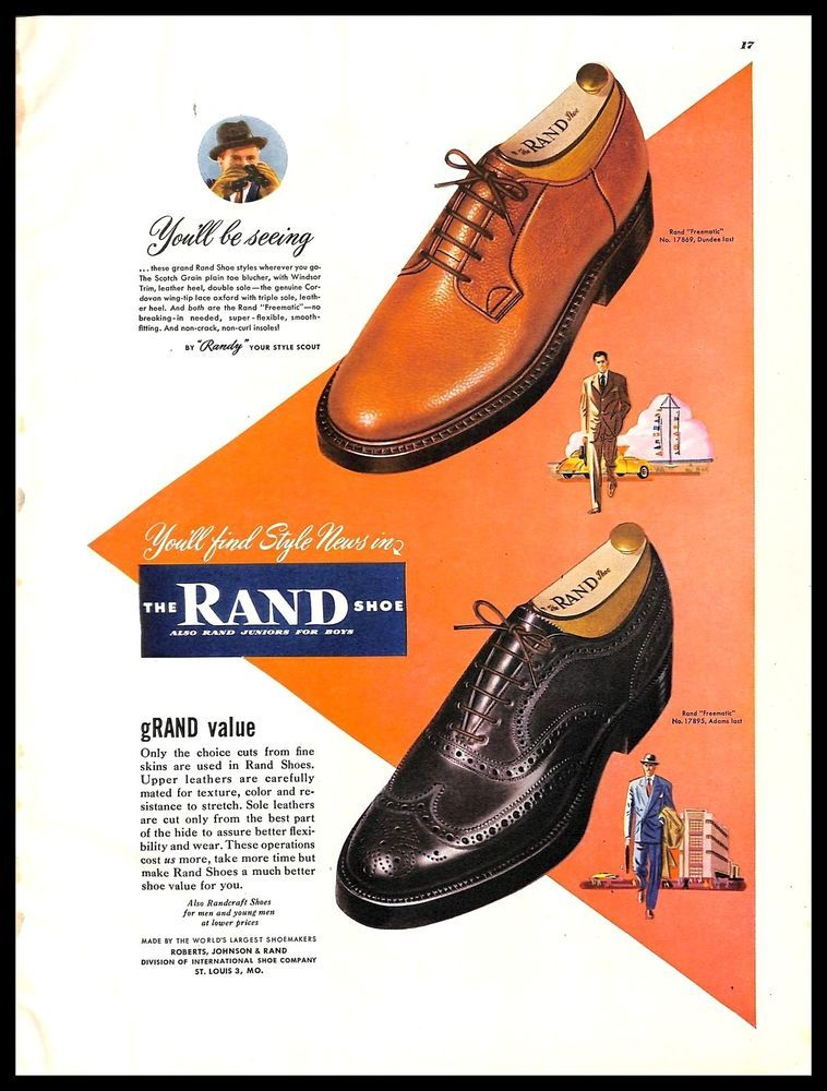 4eafaff92c 1948 Rand  Shoes  Vintage  PRINT  AD Men s  Classic  Leather  Footwear   1940s  Rand