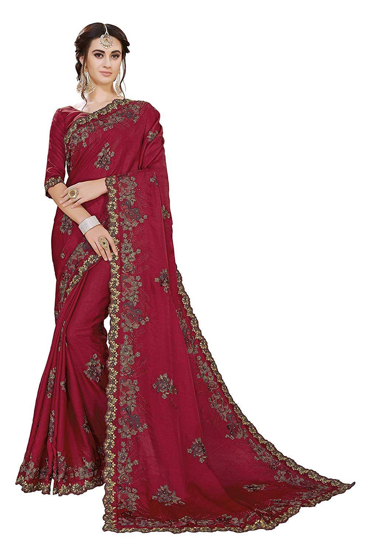 77b4d054595 Glory Sarees Women s Tussar Silk Saree (sanskruti1008 Maroon)  Amazon.in   Clothing   Accessories
