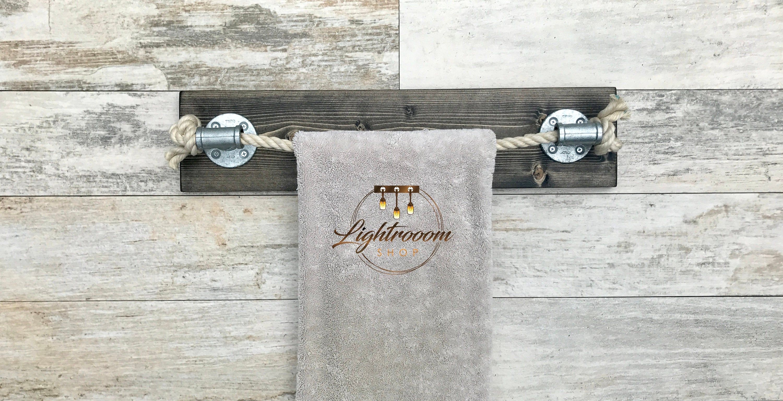 Photo of Rope Towel Rack, Nautical Design, Towel Rack, Towel Rack, Black Rope, Bathroom Faucet, Cable Bath, Rustic, Industrial, Modern