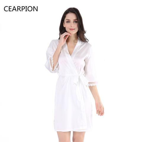 CEARPION White Bride Bridesmaid Robe Sleepwear Sexy Lace Satin Nightgown  Lingerie Women Kimono Dressing Bath Gown With Waistband c35a8ab3a994