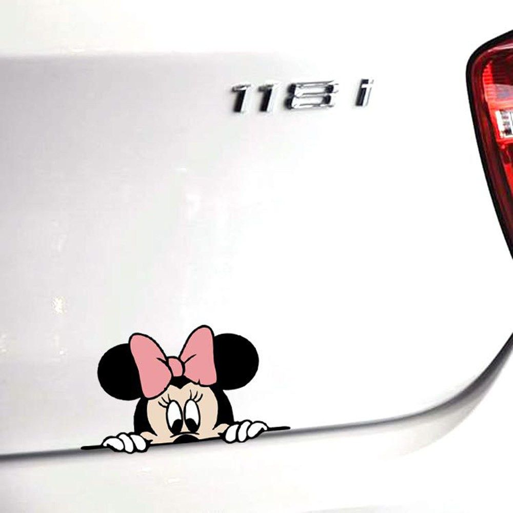 Funny Car Sticker Cute Mickey Minnie Mouse Peeping Cover Scratches Car Decals Store Car Stickers Funny Car Stickers Car Humor [ 1000 x 1000 Pixel ]