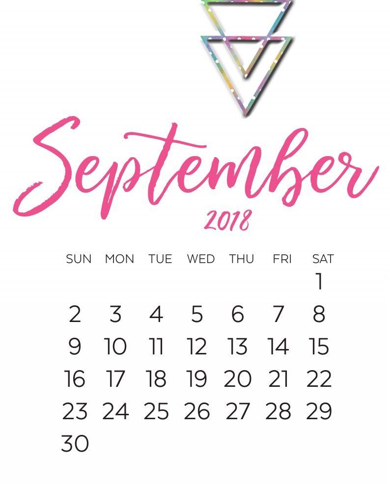 september calendar 2018 cute