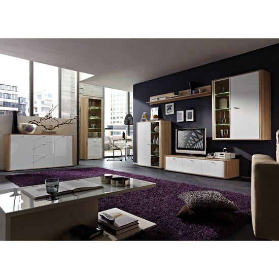 Monza Canadian Oak Gloss White Living Room Set White Living Room Set Living Room Furniture Furniture