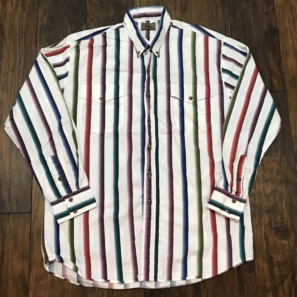 Vintage Roper Western Striped Button Down Shirt Made In Usa Mens Xl
