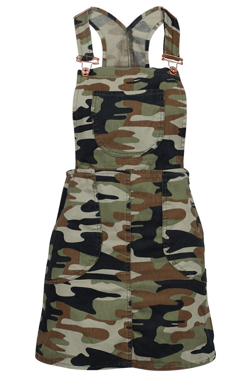 08cf15b675c6 GREEN ARMY PRINTED LADIES DENIM DUNGAREES PINAFORE #overall #military  http://www