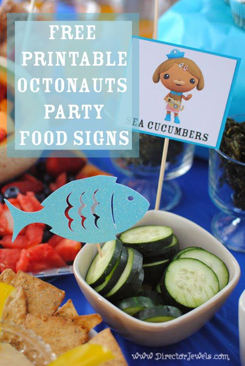 Octonauts Party Ideas Free Printable Octonauts Party Food Signs at