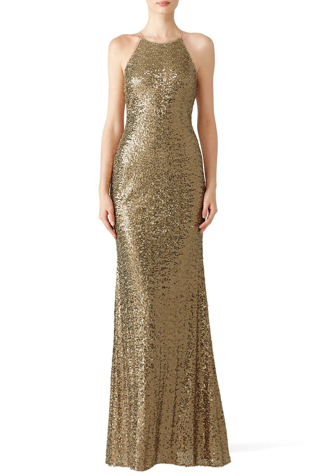 Gold Sequin Halter Gown | Someday.... | Pinterest | Halter gown ...