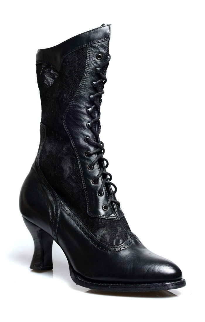 Victorian Inspired Leather & Lace Boots in Black by Oak Tree Farms is part of Lace boots, Victorian boots, Victorian shoes, Edgy shoes, Luxury boots, Steampunk boots - These Jennie Victorian Inspired Leather & Lace Boots in Black by Oak Tree Farms are covered in black floral damask lace from top to toe!