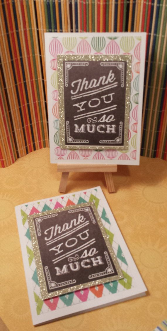 Handmade blank 2 pack Thank you cards by HighlandPoppyCards