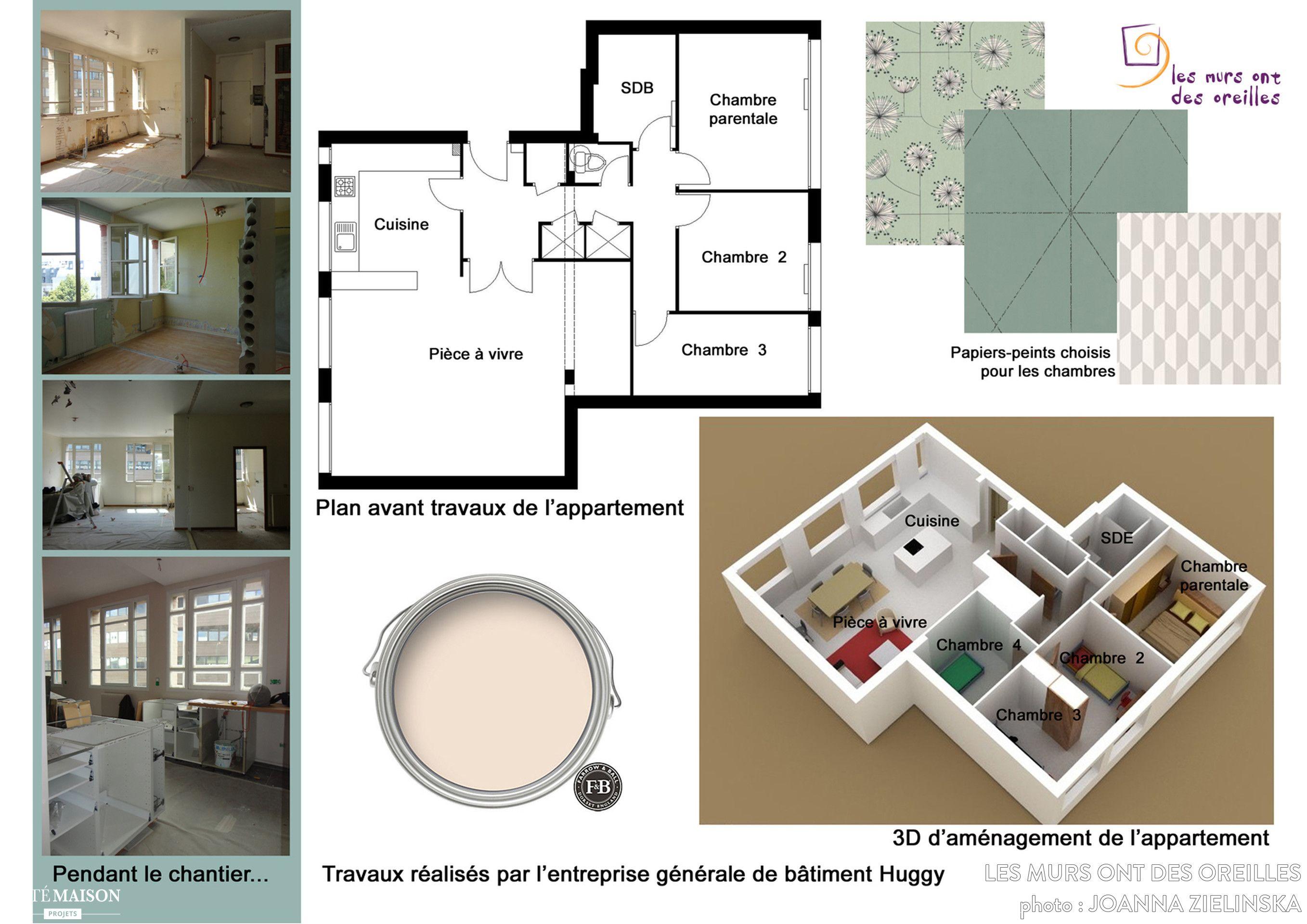 plan d 39 un appartement de 5 pi ces plans appartement en. Black Bedroom Furniture Sets. Home Design Ideas