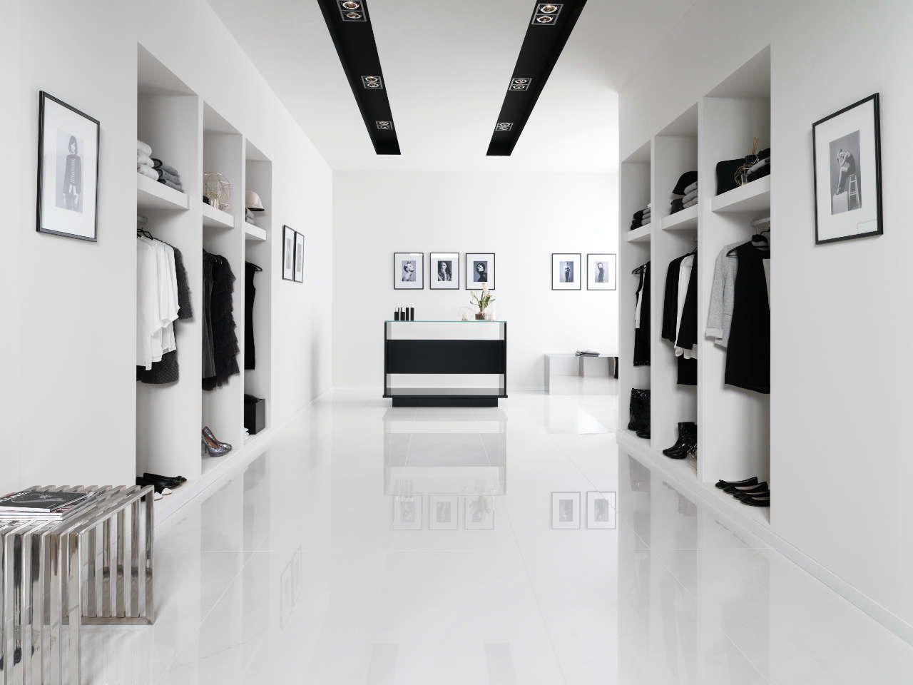 Pavimento gres porcel nico pure white polished 60x120 cm for Poli arredamenti