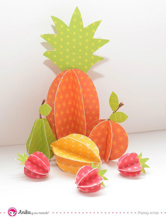 C mo hacer frutas de papel frutas de papel paso a paso pi a de papel naranja de papel fresas - Manualidades con papel craft ...