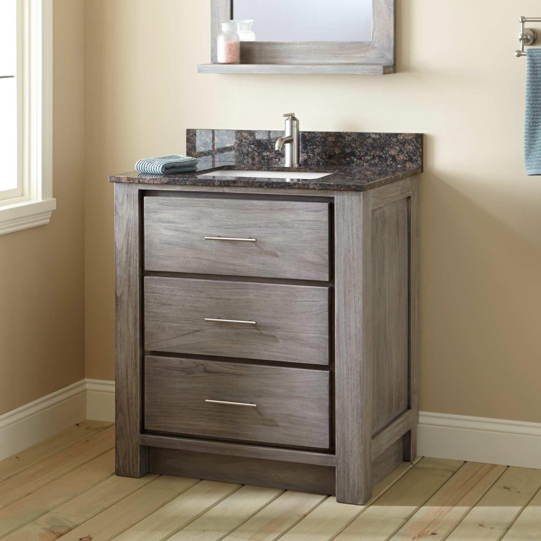 30 Venica Teak Vanity For Rectangular Undermount Sink In Gray
