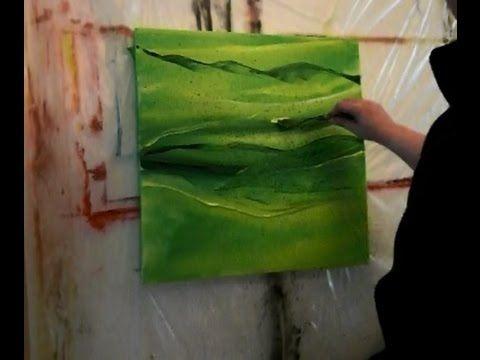 Abstrakte Acrylmalerei In Grun Abstract Acrylic Painting Mit