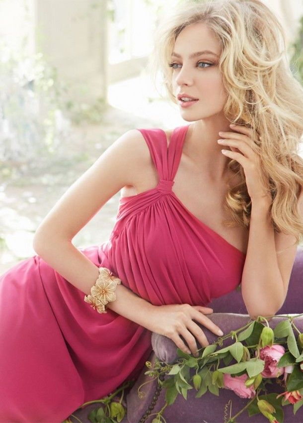 Bridesmaid Chiffon A Line Gown Draped One Shoulder Neckline Natural Gathered Skirt 5403, 2014 bridesmaid dresses ~ Feenwedding.Com