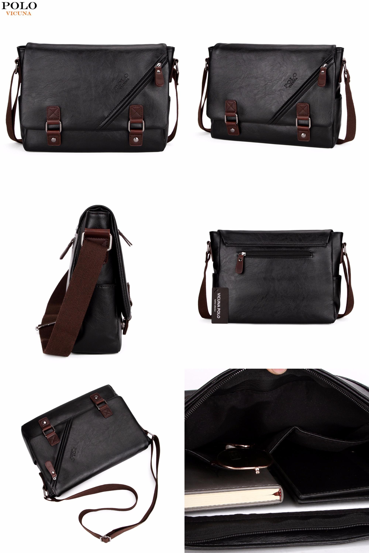 bcee90ea41  Visit to Buy  VICUNA POLO Promotional Men Messenger Bag Vintage Large  Horizontal Black Satchel