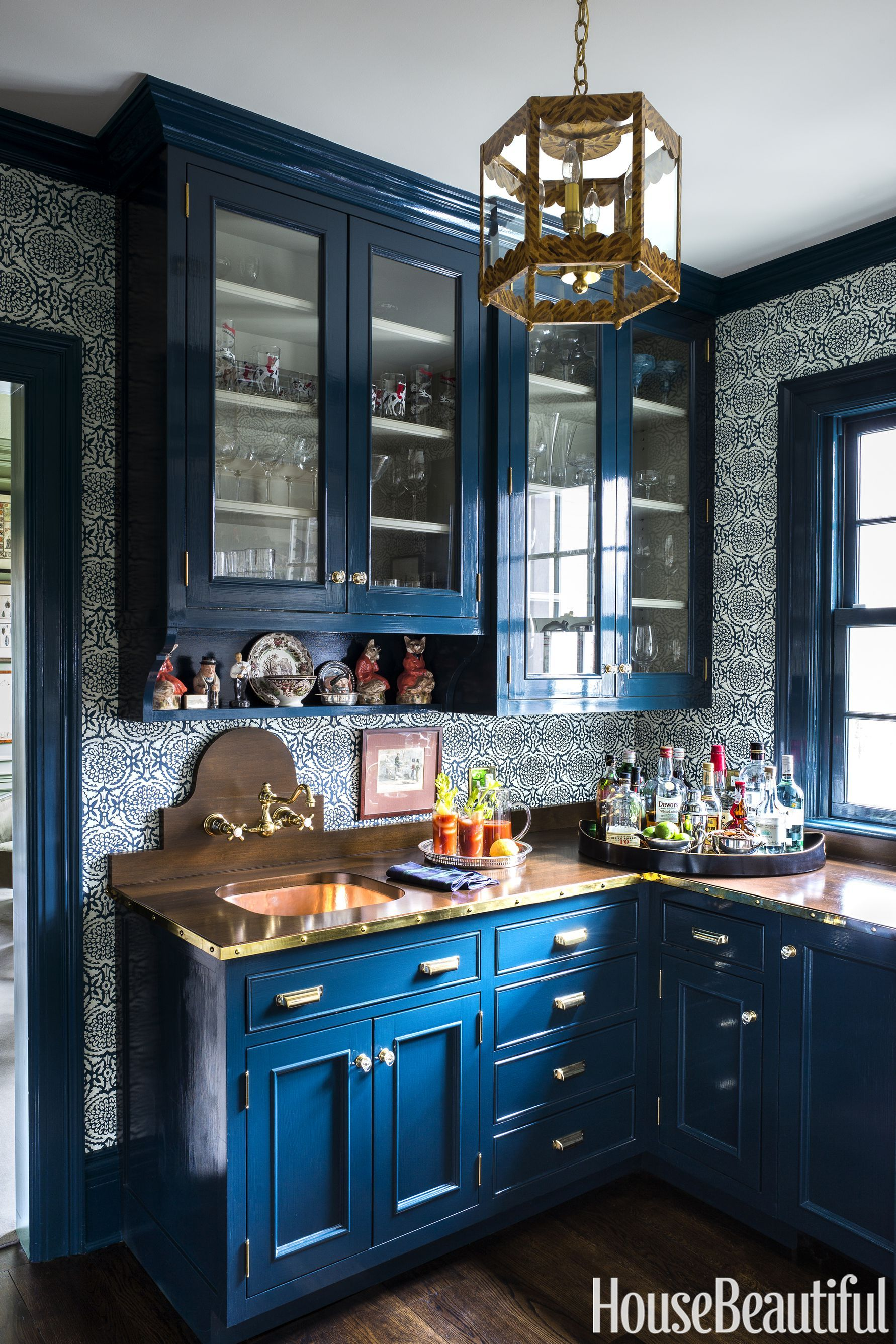A Bright Color Palette Refreshes This 100 Year Old New Jersey Colonial Blue Kitchen Cabinets Kitchen Cabinet Design Kitchen Design
