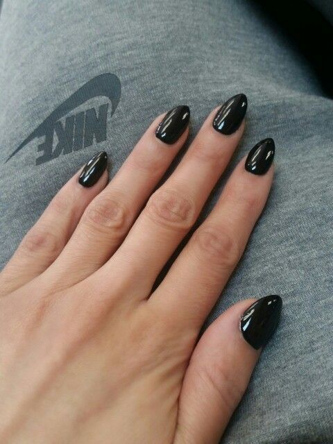 Black Almond Nails Nike Black Almond Nails Almond Acrylic Nails Nail Shapes