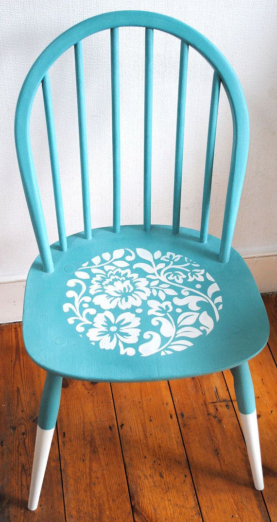 turquoise chalk paint chair with stencil design pinterest chalk
