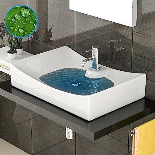 Design Waschbecken ohne  berlauf - Handwaschbecken mit Nano - weie badmbel