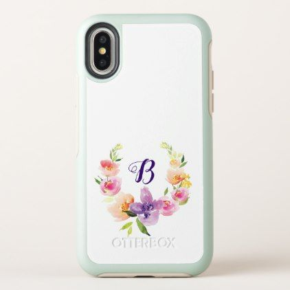 Pastel Watercolors Flowers Wreath OtterBox Symmetry iPhone X Case - monogram gifts unique design style monogrammed diy cyo customize