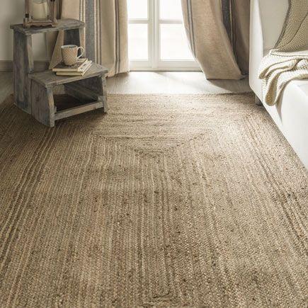 alfombra de yute rectangular de color marrón fabricada en yute