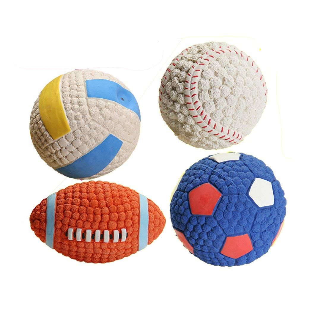 Supercb Dog Cat Pet Squeaky Toy Ball Chew Teeth Clean Puppy