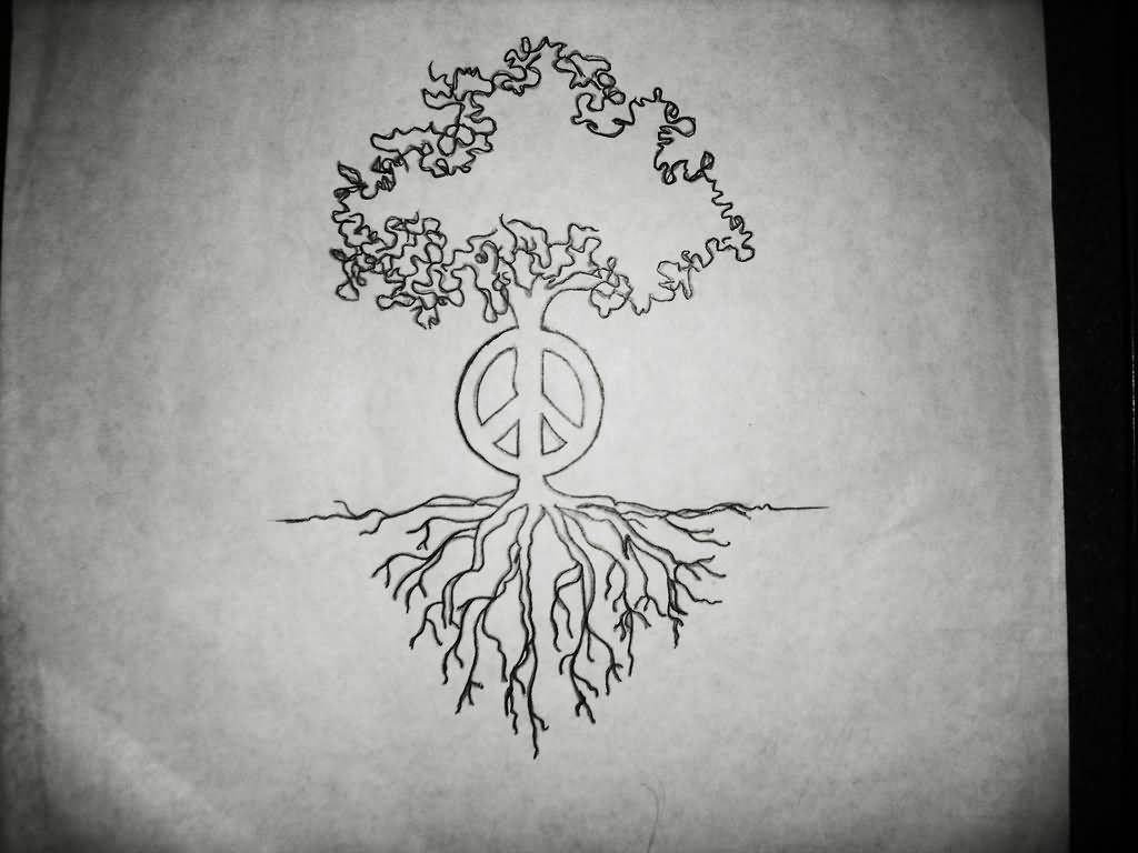 Cool Tree Black And White: Black Outline Hippie Tree Tattoo Stencil