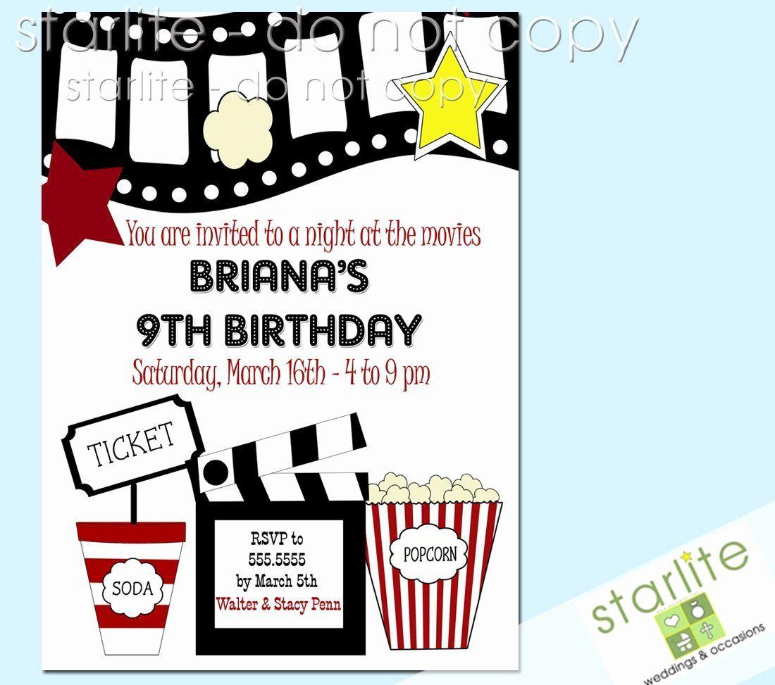 Movie Themed Invitation Template Free Fresh Free Printable Kids Bir Birthday Party Invitations Printable Movie Party Invitations Printable Birthday Invitations