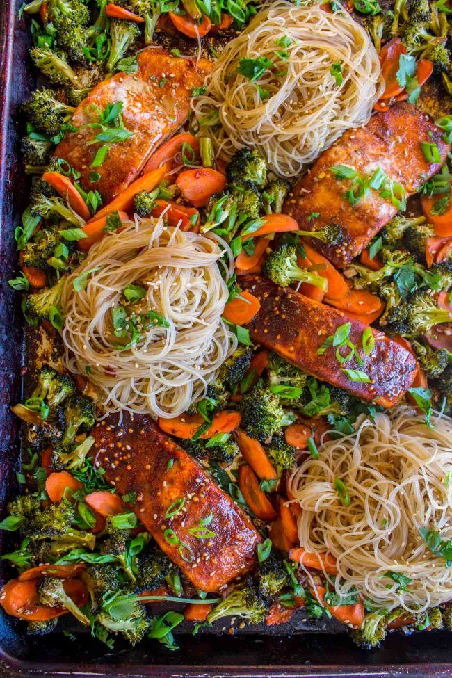 Sheet Pan Asian Salmon With Broccoli Carrots And Rice Noodles From The Food Charlatan Salmon
