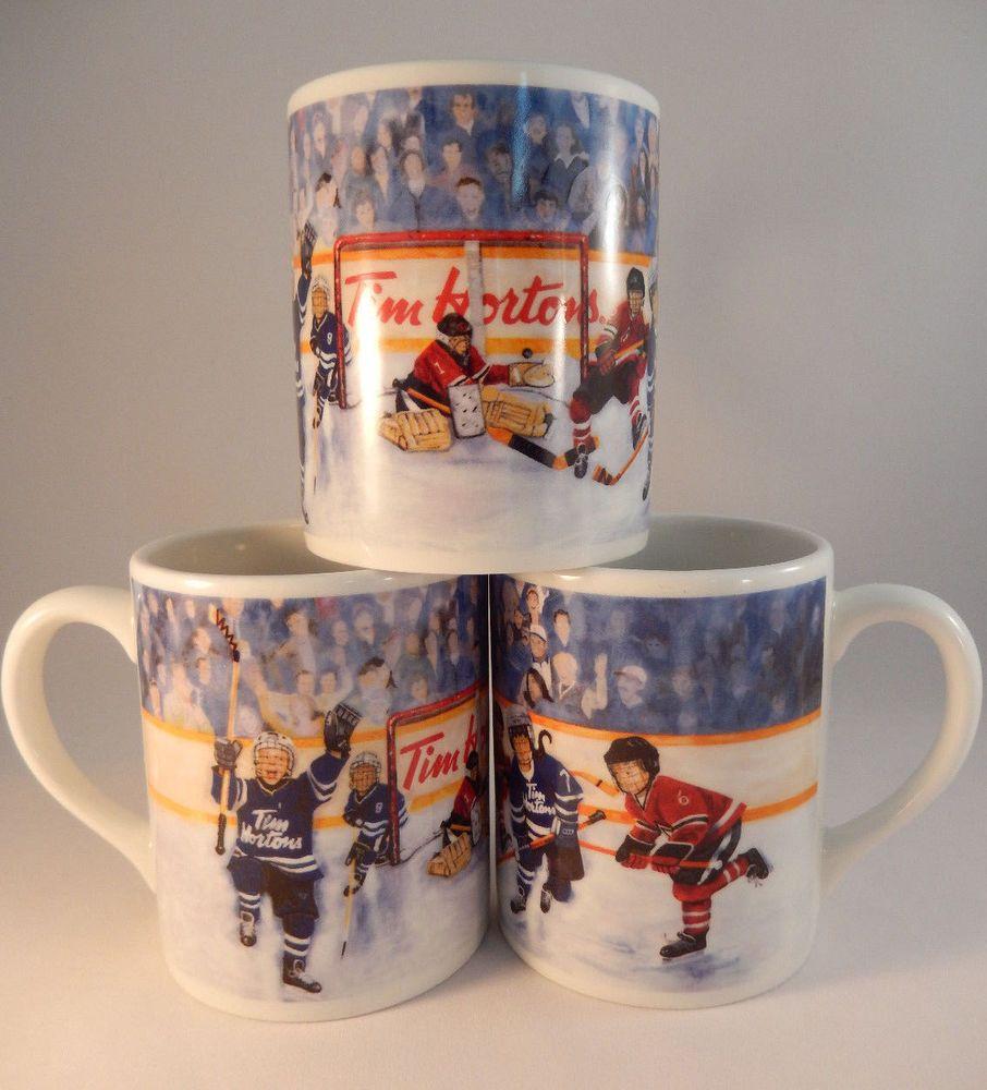 3 Tim Hortons Winning Goal Coffee Mugs Hockey Ltd Edition