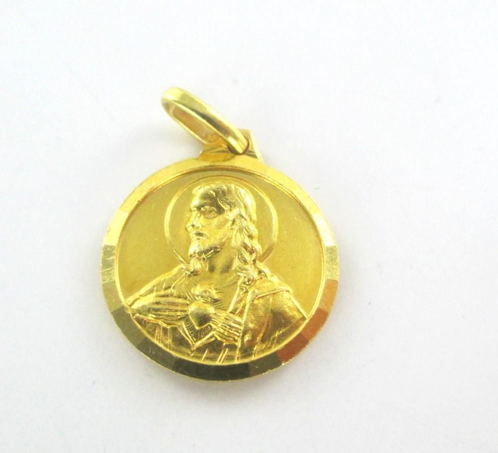 18k solid yellow gold pendant jesus mary religious sacred heart 18k solid yellow gold pendant jesus mary religious sacred heart medallion charm aloadofball Images