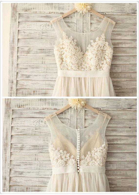 Chiffon Hochzeit Spitzenkleid mit von SimpleLoveWDress auf Etsy ...