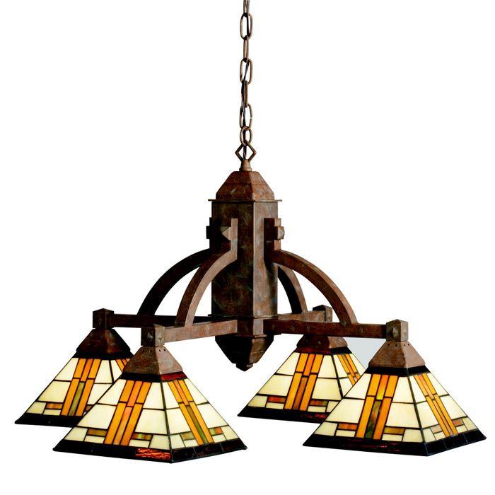 Louie lighting kichler lighting 66007 art glass 4 light chandelier patina bronze 723 80