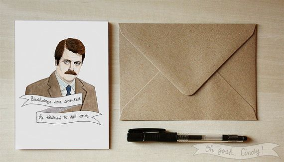 Ron Swanson greeting Valentines day card birthday Parks and
