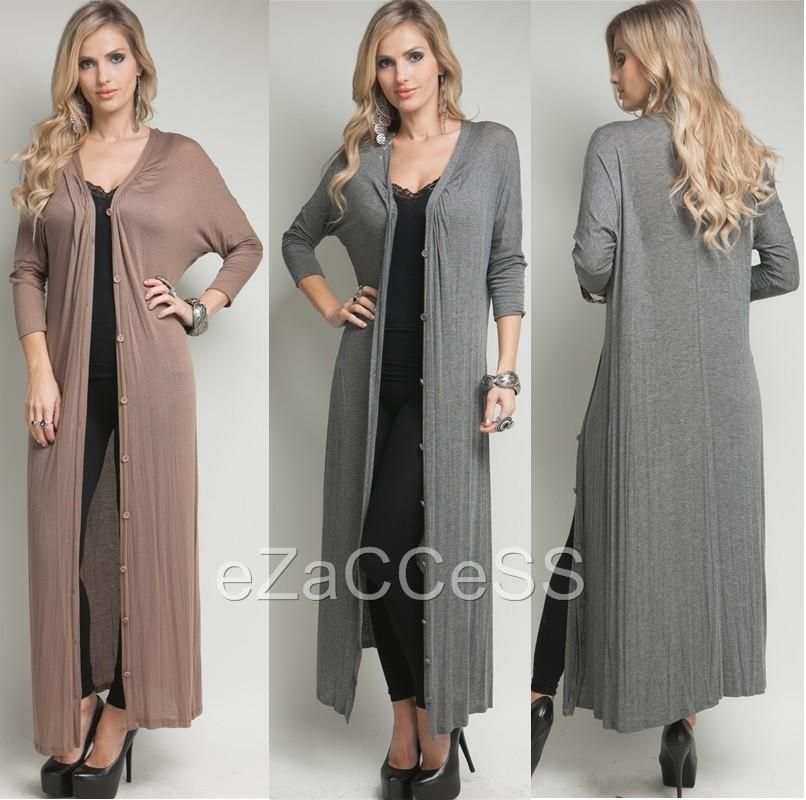 Details about Sexy Womens Long Cardigan Sweater Duster Coat Cover ...