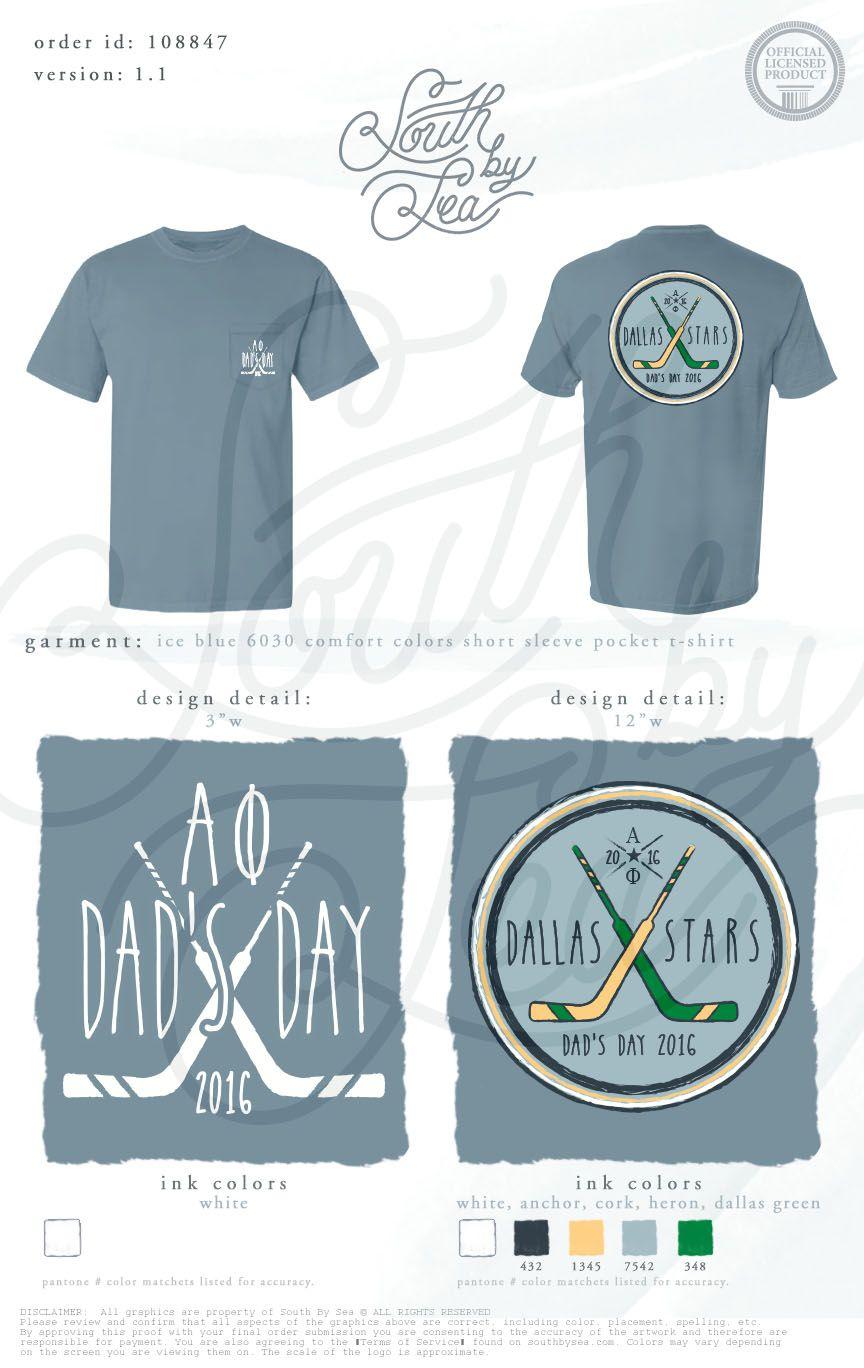cbcc0108 Alpha Phi | Dad's Day | Dallas Stars | Hockey Theme T-Shirt Design | Dad's…