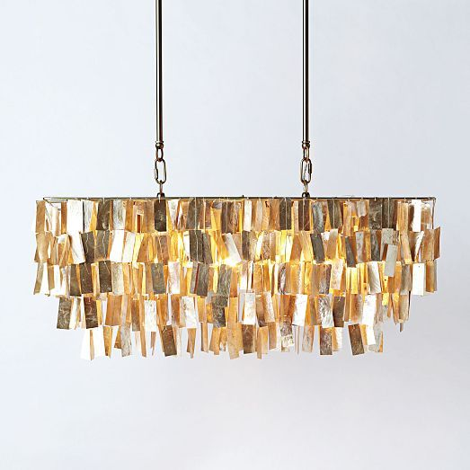Large Rectangle Hanging Capiz Pendant Shade, made in the ...