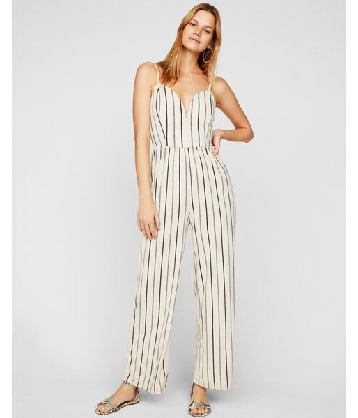 35f3ee090b8 Petite Striped Wide Leg V-Wire Jumpsuit Stripe Women s L Petite ...