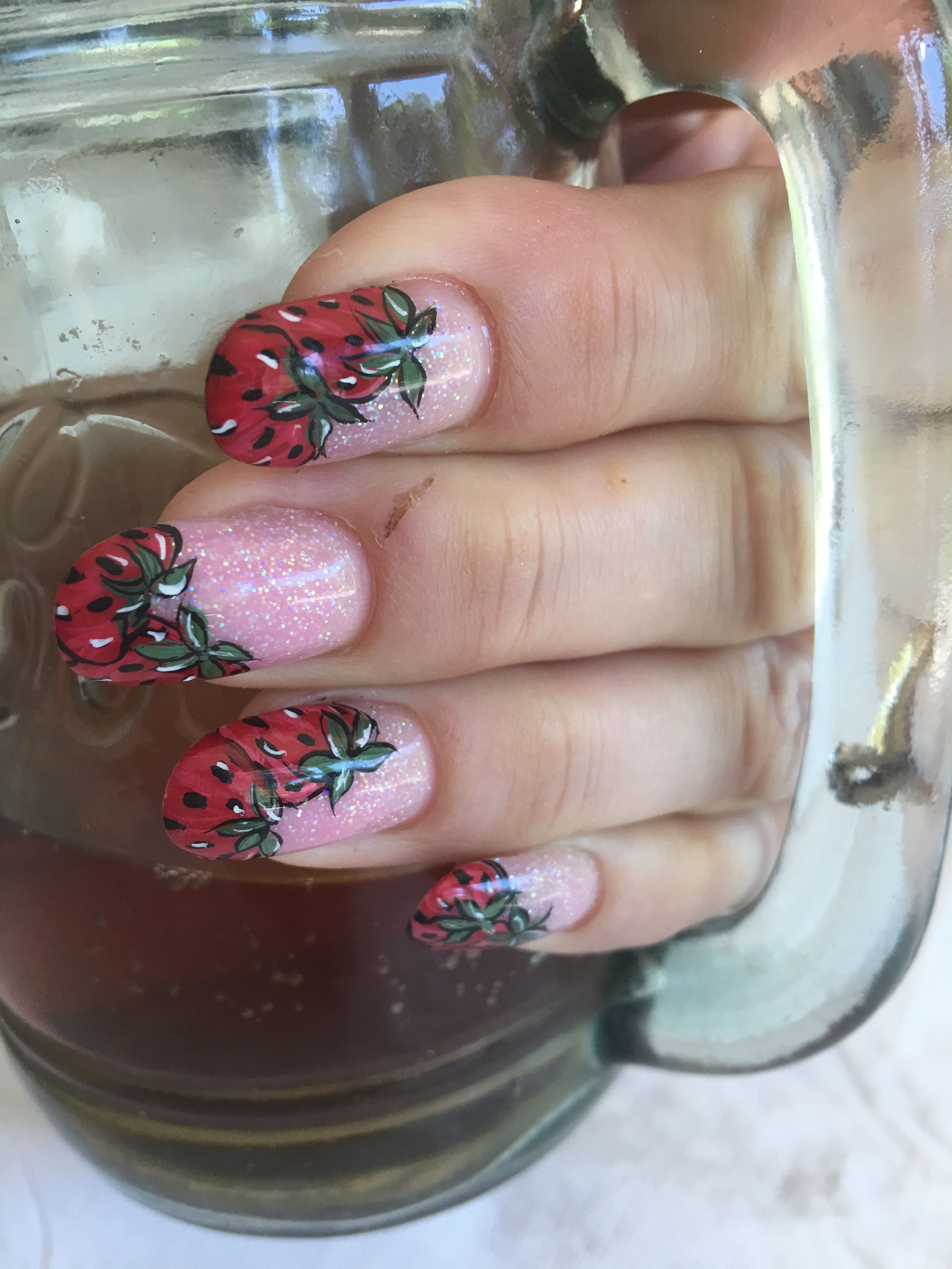 Fresh strawberries Acrylic nails Exquisite nails by Lori   Nails ...