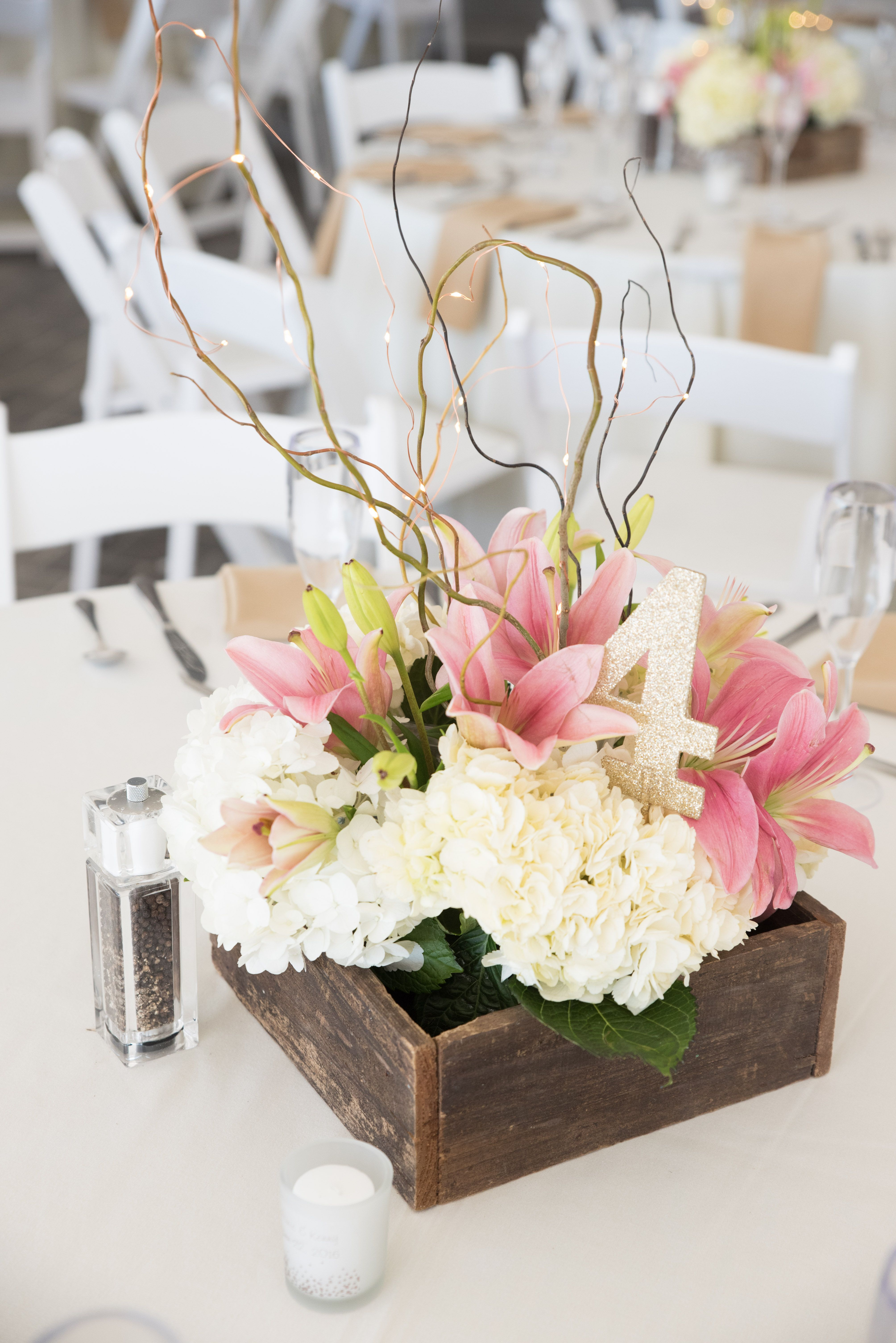 Flower box centerpiece - lighted centerpieces - Tampa Bay Wedding ...
