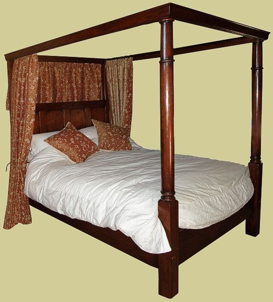 Georgian style oak four poster bed, for a king size mattress ...