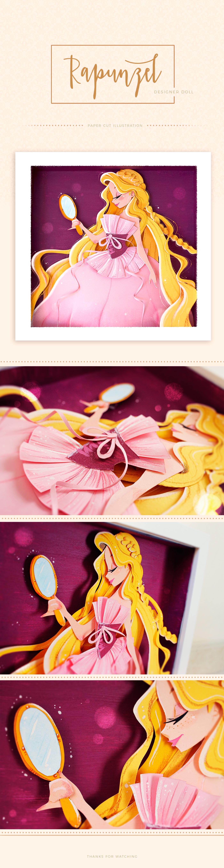 Rapunzel Designer Doll - Paper cut illustration on Behance