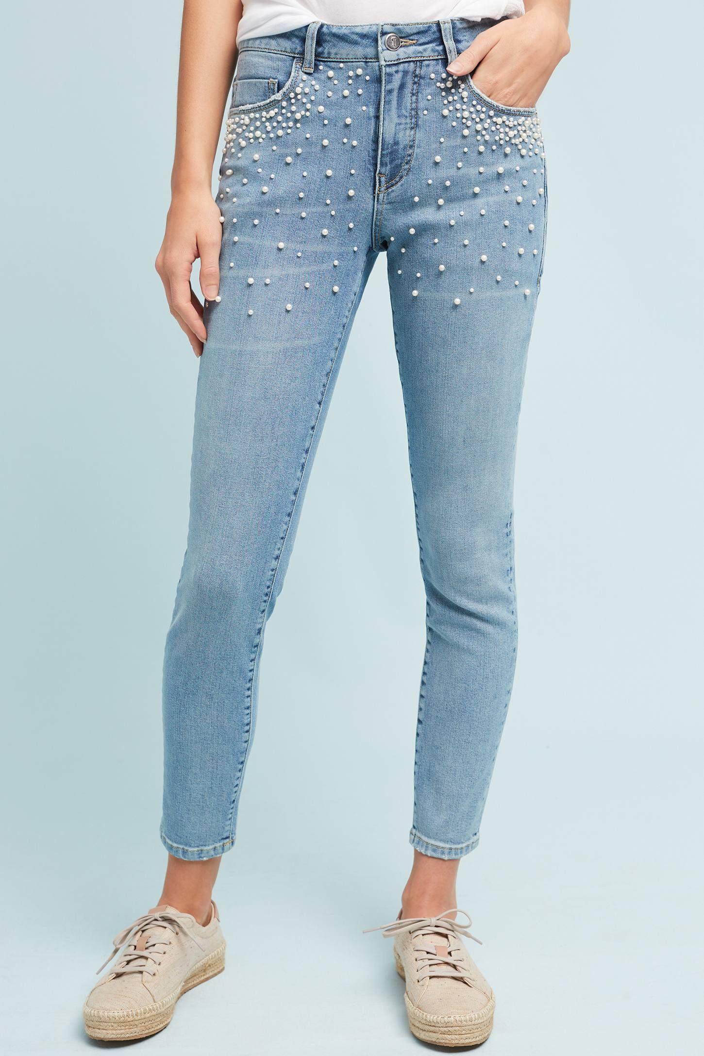 db29031241661 Pilcro Script High-Rise Pearl Skinny Jeans